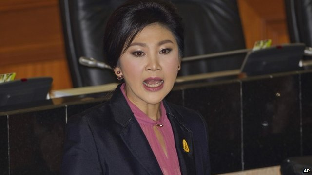 Thailand's former Prime Minister Yingluck Shinawatra speaks in parliament in Bangkok