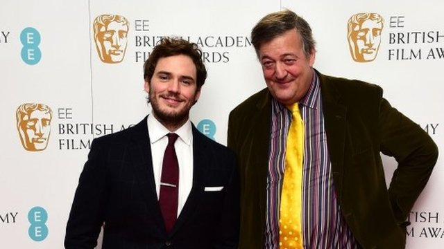 Sam Claflin (left) and Stephen Fry at the EE British Academy Film awards nominations announcement at Bafta in London