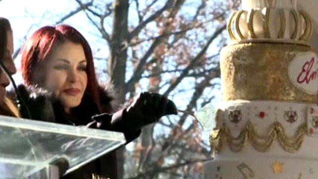 Priscilla Presley cuts the Birthday cake