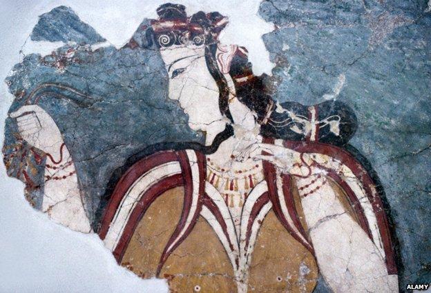 Fresco or Wall Painting of the Lady of Mycenae, Ancient Greek Woman or Greek Goddess, c13th BC, Mycenae, Greece