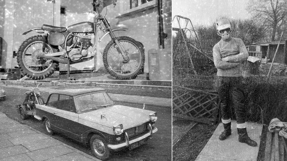 Motorbike, car and unidentified man