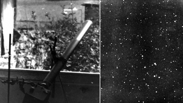 Brownie attached to a telescope and the resulting picture of the night sky