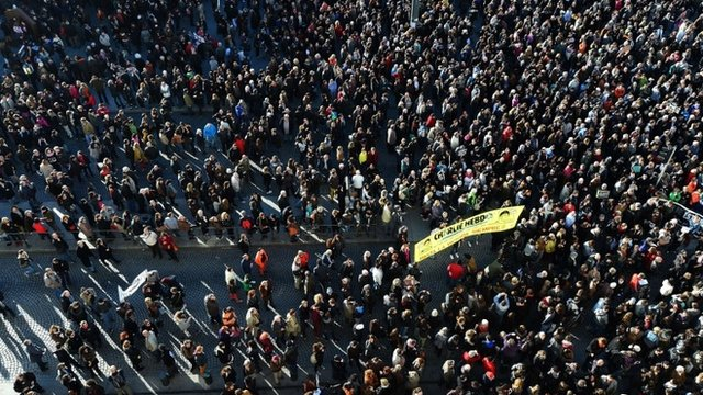 People march during a demonstration attended by an estimated 45.000 on the old harbour in Marseille, southern France on January 10, 2015 as tens of thousands of people staged rallies across France following three days of terror and twin siege dramas that claimed 17 victims,