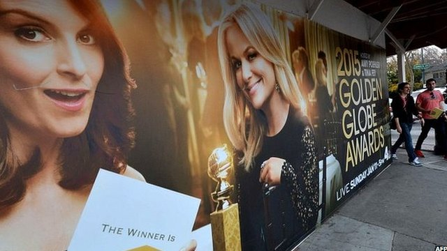 A poster showing the Golden Globe Awards presenters in 2015