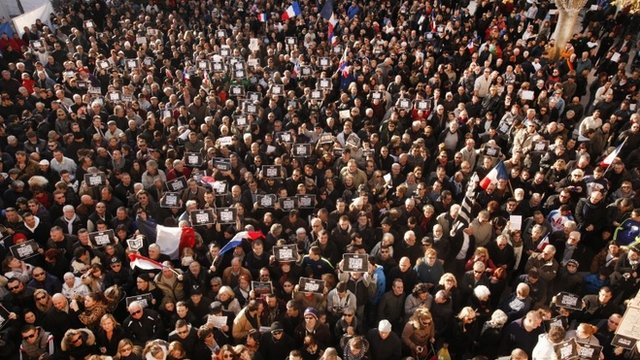 """Demonstrators take part in a Unity rally """"Marche Republicaine"""" on January 11, 2015 in Beaucaire, France. The French far-right National Front (FN) held their own rally after being excluded from the Paris unity rally."""