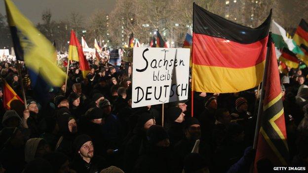 Pegida rally in Dresden, 5 Jan 15