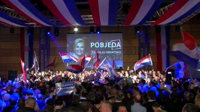 Opposition challenger Kolinda Grabar-Kitarovic wins Croatia's presidential election.