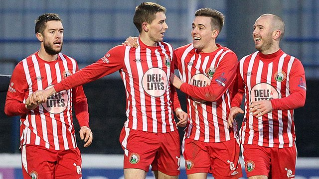 Warrenpoint beat Coleraine 3-1 to reach the 6th round of the Irish Cup