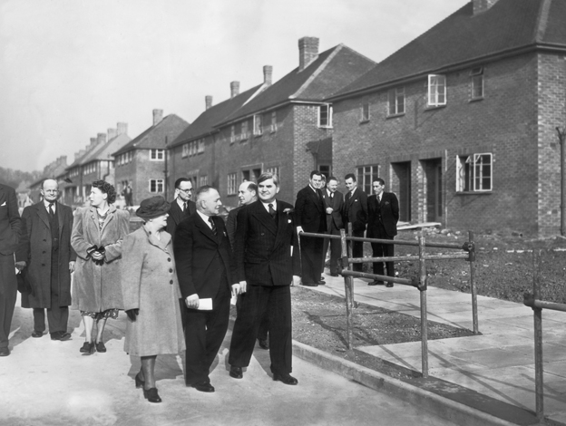 British Minister of Housing Aneurin Bevan (1897 - 1960) opens the 500th permanent house built since the end of World War II by Elstree Rural Council, 25th March 1949
