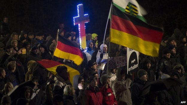 Pegida marchers in Dresden (6 Jan 2015)
