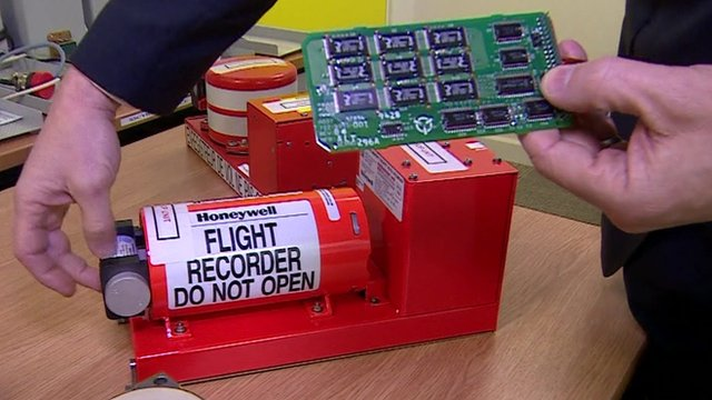 A 'black box' flight recorder and the internal circuit board