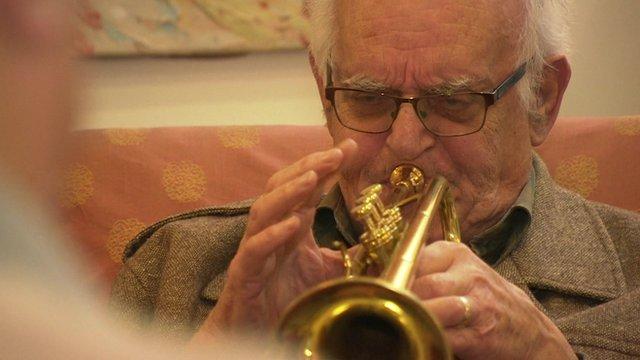 A man playing a trumpet