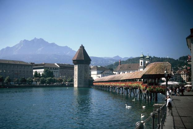 Kapellbrucke (Chapel Bridge) in Luzern, Switzerland