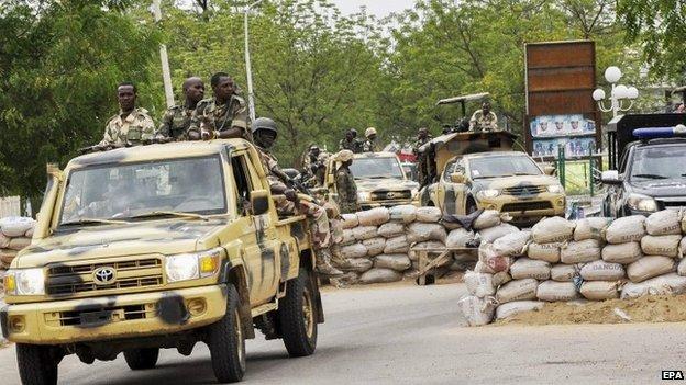 Nigerian military patrol in Maiduguri