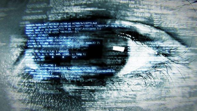digital code over eye