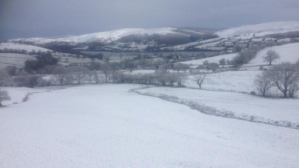 Eira'n syrthio ym mhlwy Llangower ger y Bala / Snow falls in Llangower near Bala