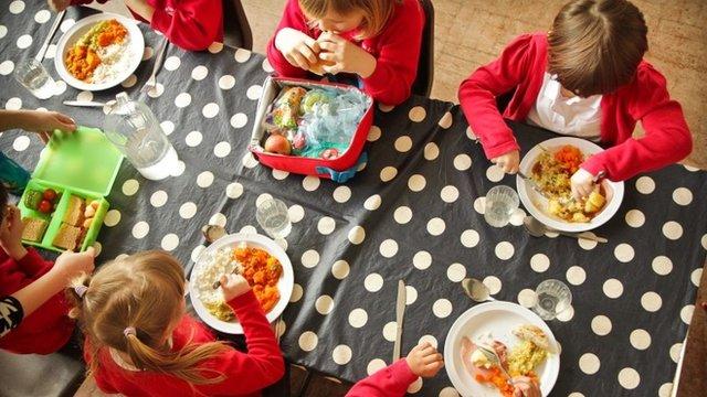 Pupils eating roast dinner