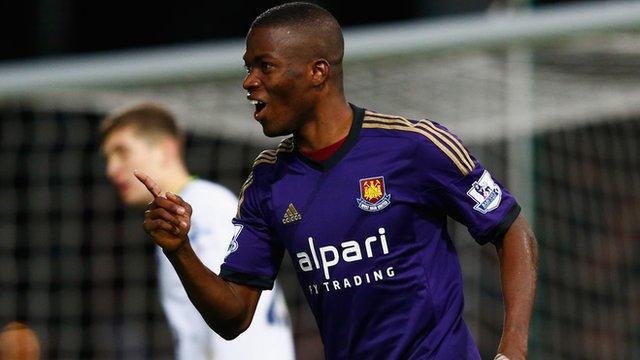 Enner Valencia celebrates scoring for West Ham