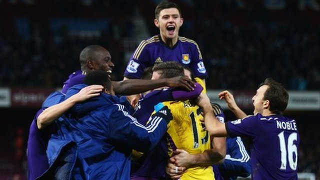 West Ham celebrate their FA Cup victory over Everton