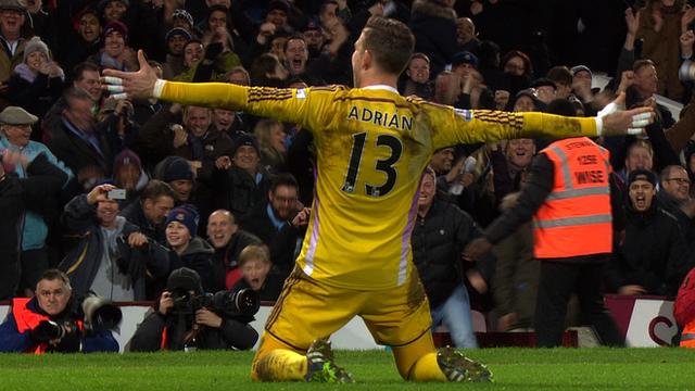 West Ham goalkeeper Adrian scores the winning penalty against Everton