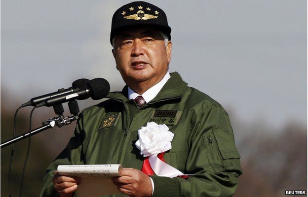 Japan's Defence Minister Gen Nakatani speaks during an annual new year military exercise by the Japanese Ground Self-Defense Force 1st Airborne Brigade at Narashino exercise field in Funabashi, east of Tokyo 11 January 2015.