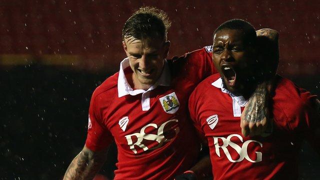 Aden Flint and Jay Emmanuel-Thomas celebrate against Doncaster