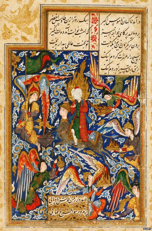 Image from a 16th Century Iranian manuscript showing the ascension to Heaven