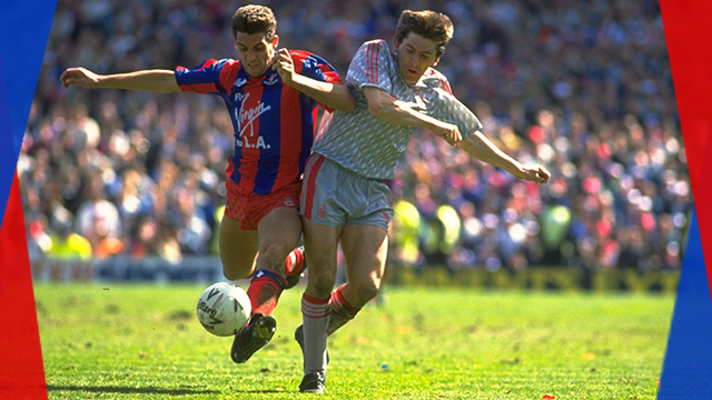 John Pemberton and Peter Beardsley challenge for the ball in the FA Cup semi-final