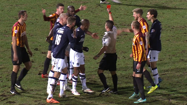 Mark Beevers is sent off for Millwall