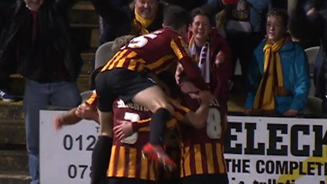 Bradford celebrate James Hanson's goal
