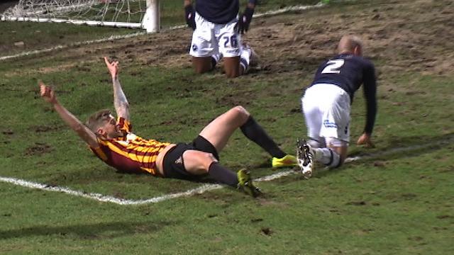 Jon Stead celebrates doubling Bradford's lead