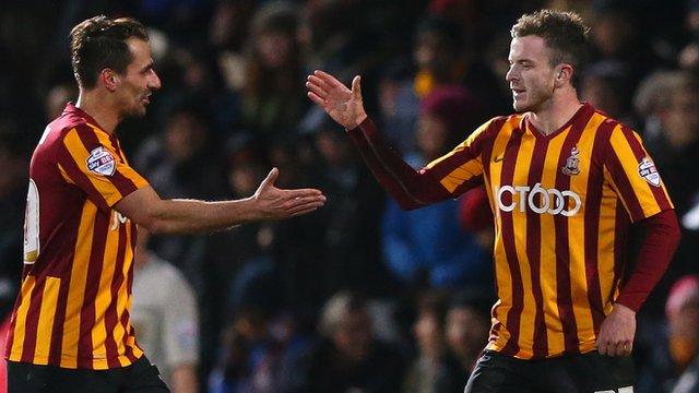 Bradford City's Andy Halliday celebrates his side's third goal