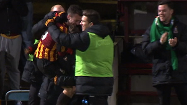 Bradford celebrate Andy Halliday's goal