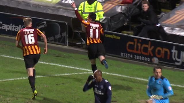 Billy Knott celebrates Bradford's fourth against Millwall