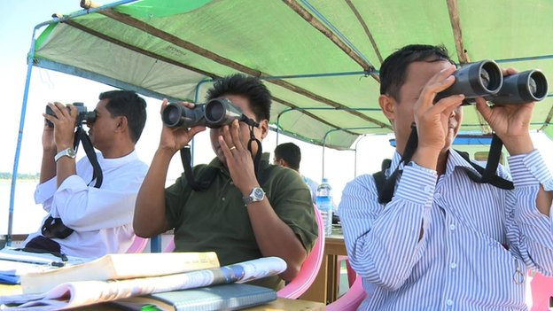 researchers looking out for the dolphins
