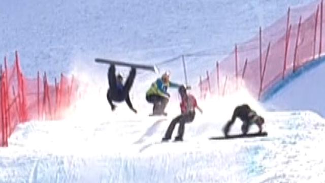snowboarders tangle in big snow-cross crash