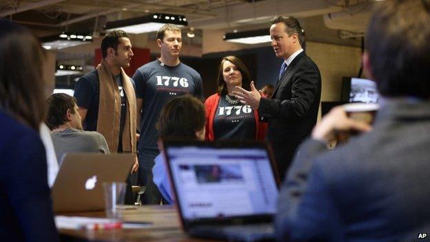 David Cameron meets entrepreneurs at a hub for tech start-ups in Washington