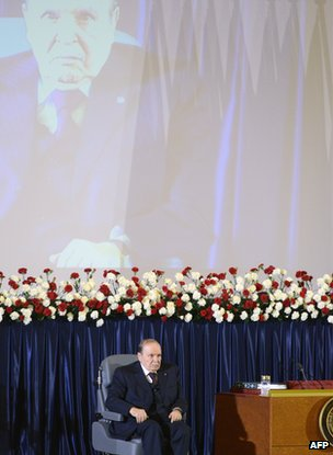Algerian President Abdelaziz Bouteflika at the ceremony for his inauguration for a fourth term, 28 April, 2015