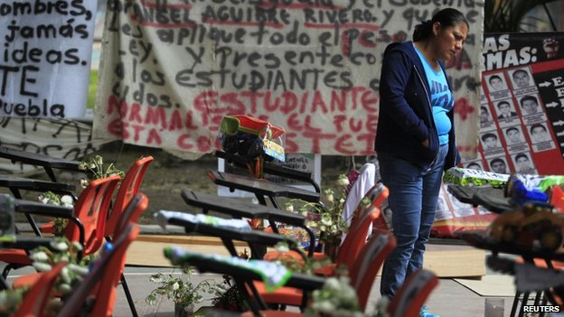 Empty chairs at the Ayotzinapa teachers school in Guerrero State
