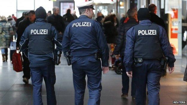 German police patrol the Hauptbahnhof, Berlin's main train station, 17 January 2015