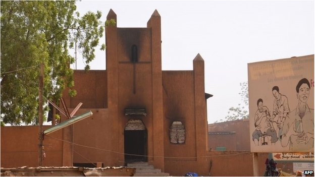 A church, which was damaged after it was set on fire by protesters during a demonstration against French weekly Charlie Hebdo's publication of a cartoon of the Prophet Muhammad in Niamey.