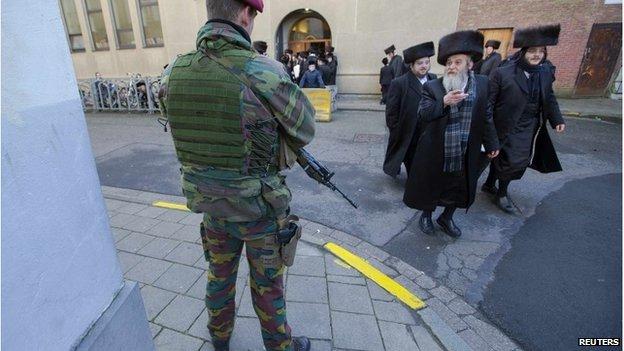 Belgian soldier outside a Jewish school in Antwerp