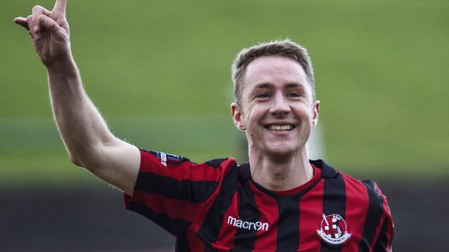 Crusaders Timmy Adamson celebrates scoring against Glentoran