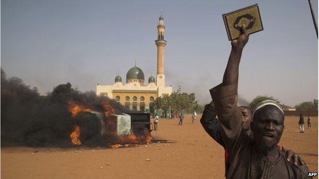 Protests against Charlie Hebdo cartoon in Niamey, 17 January 2015