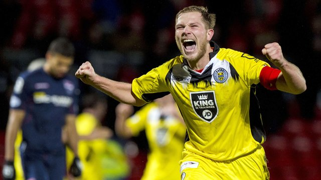St Mirren's Marc McAusland celebrates at the full-time whistle