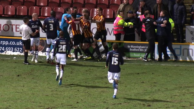 Tempers flare between Bradford City and Millwall players during their FA replay
