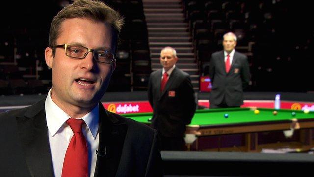 Snooker referees Alex Crisan, Brendan Moore and Jan Verhaas