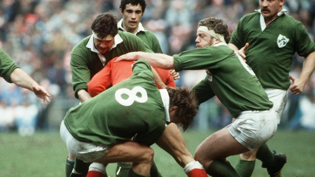 Action from the 1985 game between Wales and Ireland in the Five Nations