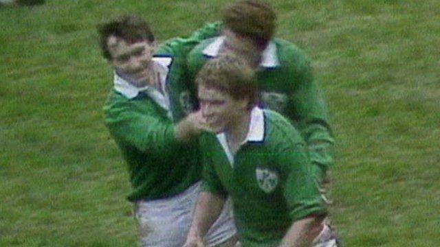 Trevor Ringland celebrates scoring a try against Scotland in 1985