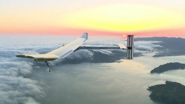 The Solar Impulse 2 in flight